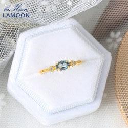 Женское серебряное кольцо LAMOON Vingtate 925 пробы, кольца с натуральным лондонским голубым топазом и позолотой 14 к, Изящные Ювелирные изделия, нов...