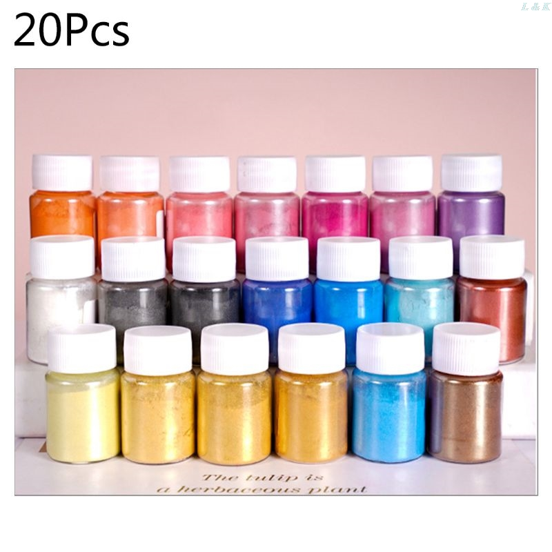 20 Pearlescent Powder Epoxy Resin Dye Pearl Pigment Natural Mica Mineral Powder L29K Dropship