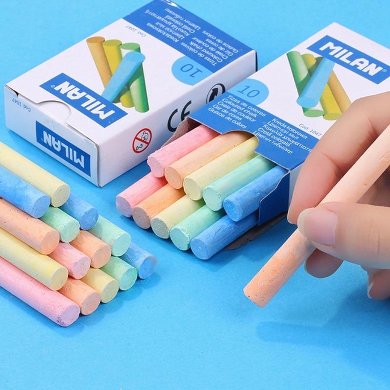 Multicolor10Pcs/box Dustless Chalk Pen Drawing Chalks For Blackboard Stationary Office School Supplies Accessories Tizas Escolar