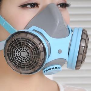Image 4 - CK טק. בטיחות משקפי מגן עמיד הלם + סיליקון מגן נגד אבק מסכת ההנשמה נגד גז פורמלדהיד חומרי הדברה צבע מסכת סט