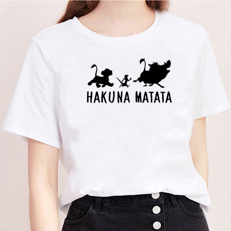 The <font><b>Lion</b></font> <font><b>King</b></font> Print <font><b>Hakuna</b></font> <font><b>Matata</b></font> Ulzzang Streetwear Women Shirts Tops Short Sleeve T-shirt Vogue Kawaii Harajuku Shirt Casual image