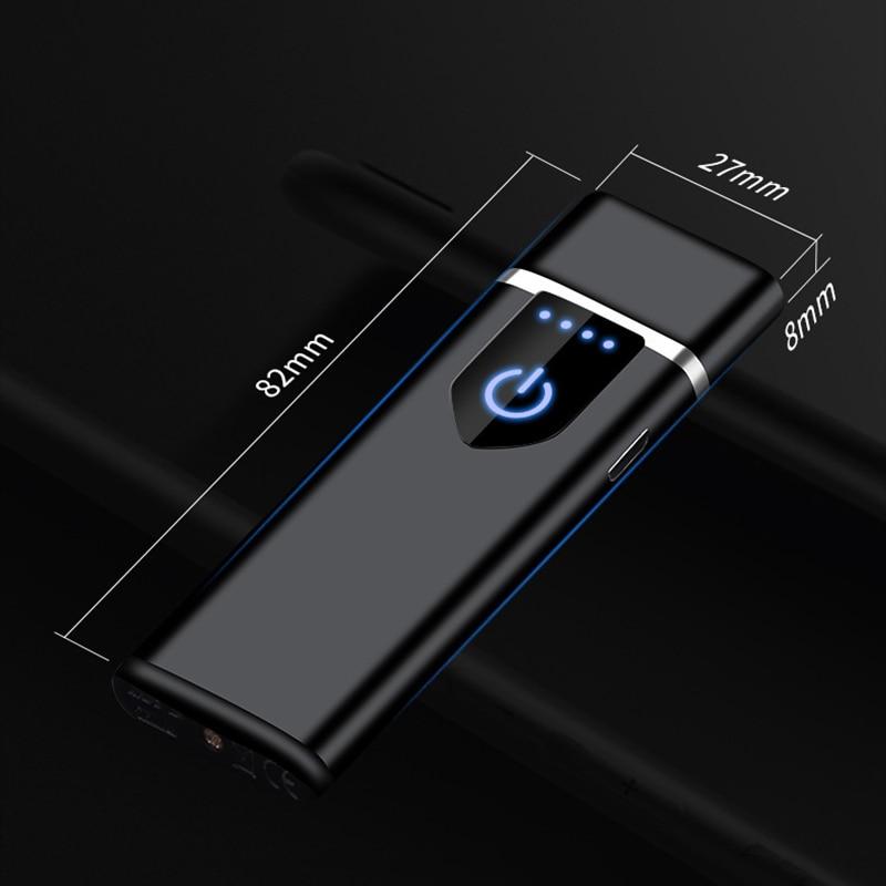 Touch Fingerprint Sensor USB Electric Lighter Rechargeable Flameless Windproof