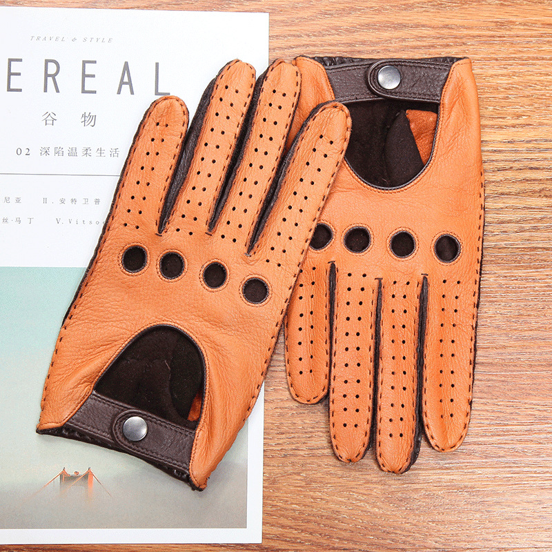 Genuine Leather Men's Gloves Anti-Slip Driving Breathable High Quality Real Deerskin Gloves Male Two Tones Brown Camel DQ0133M