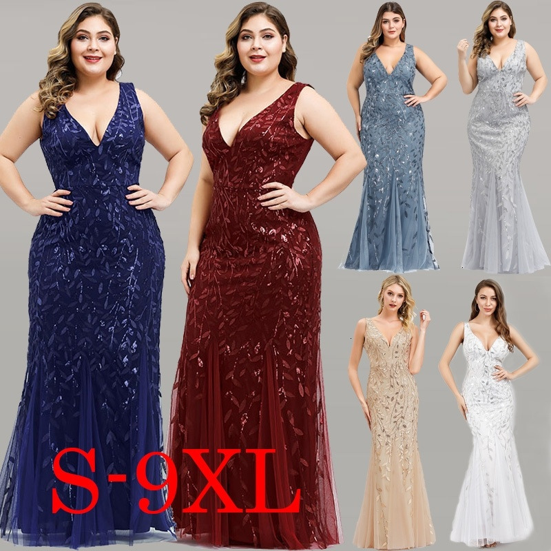 Elegant Plus Size   Prom     Dresses   Long Ever Pretty Robe De Soiree Mermaid V Neck Sequined Wedding Party Gowns Vestidos De Fiesta