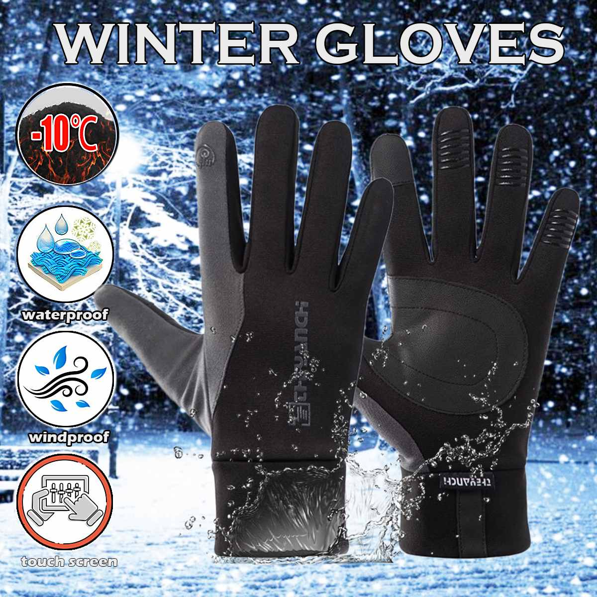 Luvas de ciclismo-10 graus para o inverno, luvas quentes para bicicleta mtb e à prova dágua, permite usar telas touchscreen
