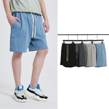 Summer men solid cotton casual sports shorts trend fashion personality original street hip hop straight loose knee length pants brand men s fashion sports pants summer new stitching loose straight sports pants lightweight comfortable hip hop casual shorts