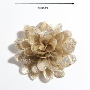 """Image 3 - 50PCS 8CM 3.1"""" New Artificial Metallic Fabric Flower For Hair Accessories Chiffon Shiny Scallop Flowers For Wedding Boutique"""
