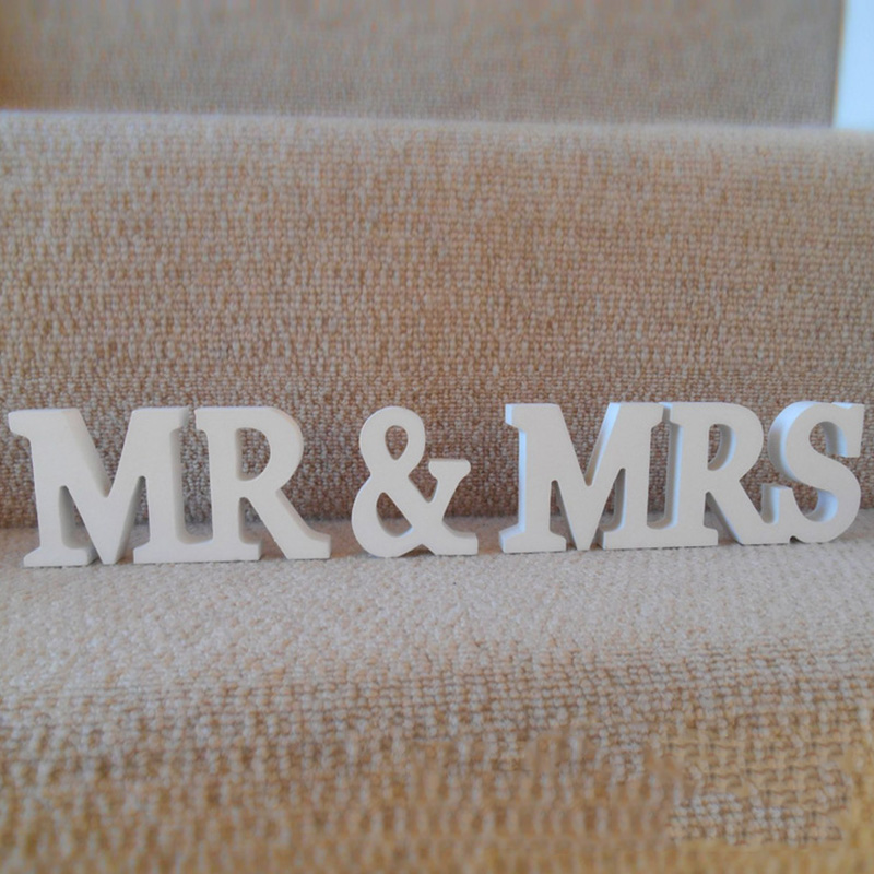 ProfessionalProchive Wedding Table Deco Letters In Raw Wood MR & MRS