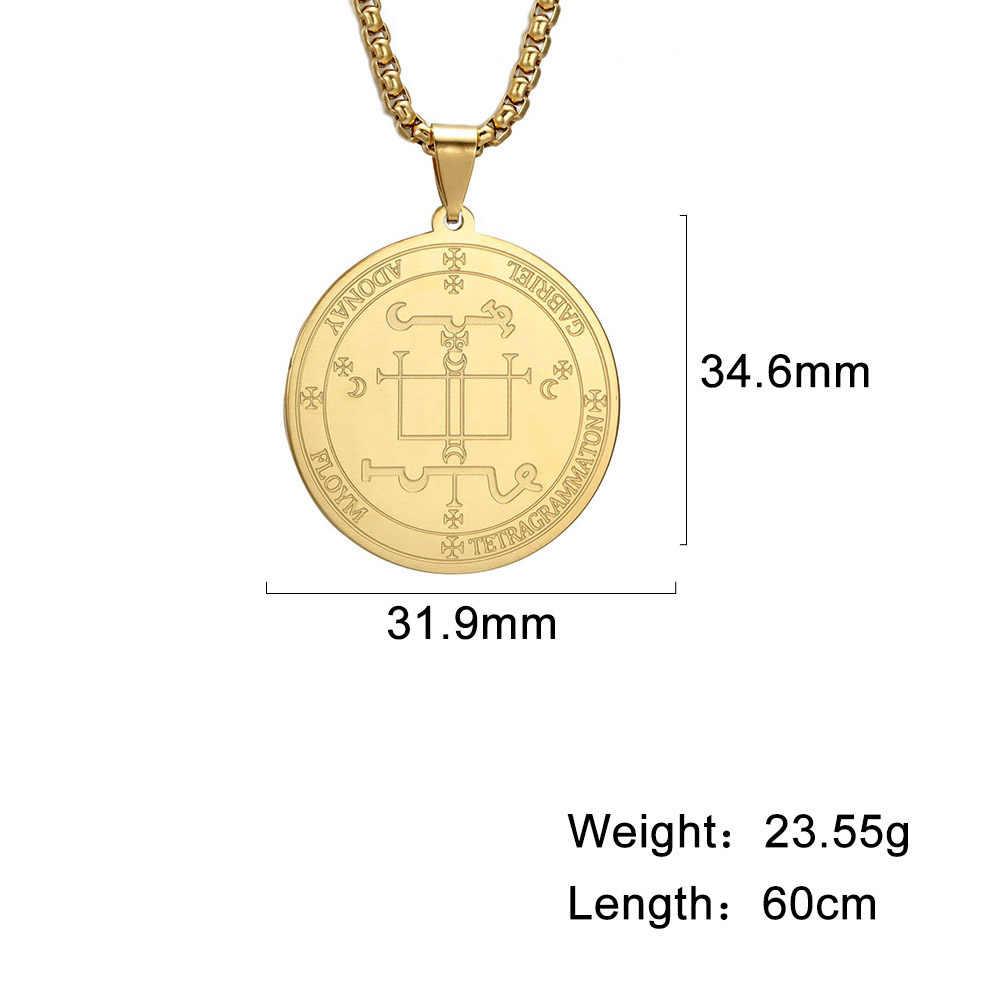 Dawapara pieczęć archanioła gabriela bóg jest moją siłą salomon Amulet błogosławi dzieci naszyjnik biżuteria ze stali nierdzewnej