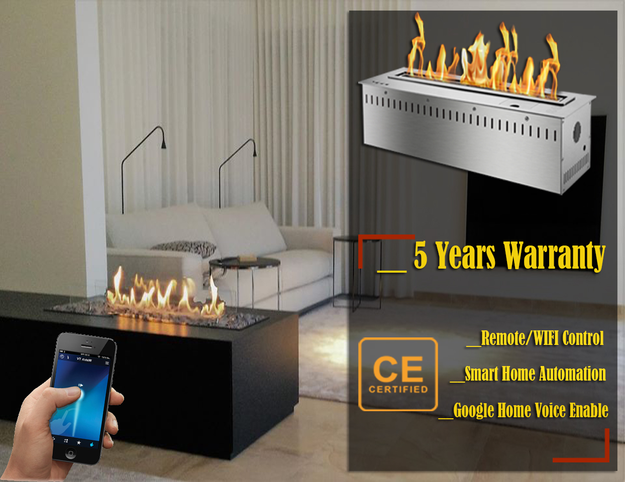 Hot Sale 72 Inches Sus 304 Stainless Steel Remote Bio Ethanol Fireplace Wall Insert Burner
