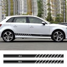Dla Audi A4 B5 B6 B7 B8 A3 8P 8V 8L A5 A6 C6 C5 C7 A1 A7 A8 Q2 Q3 Q5 Q7 TT RS3 RS4 Auto akcesoria 2 sztuk drzwi samochodu naklejki boczne
