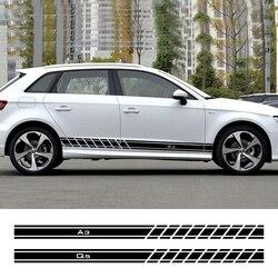 For Audi A4 B5 B6 B7 B8 A3 8P 8V 8L A5 A6 C6 C5 C7 A1 A7 A8 Q2 Q3 Q5 Q7 TT RS3 RS4 Auto Accessories 2PCS Car Door Side Stickers
