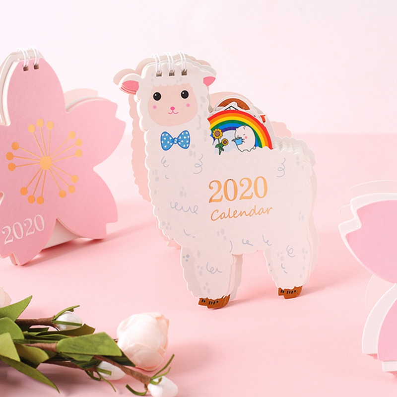 2020 Cute Unicorn Cat Animals Laser Desk Calendar Cherry Blossom Calendar Daily Schedule Planner