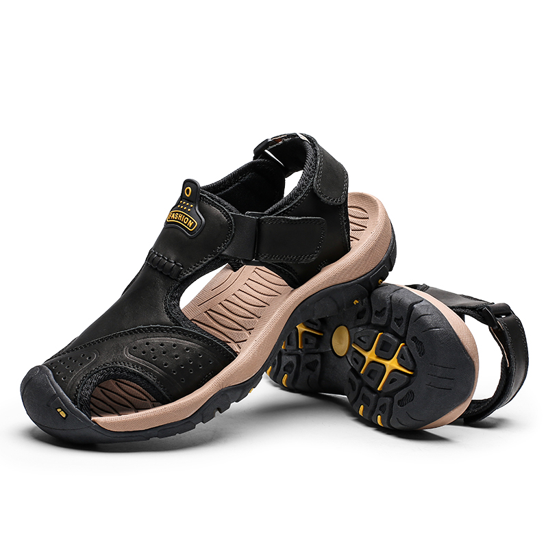 Image 5 - High Quality Men Sandals Genuine Leather Sandals Summer Casual Shoes Men's Roman Beach Sandals Sandalias De Hombre De Cuero-in Men's Sandals from Shoes