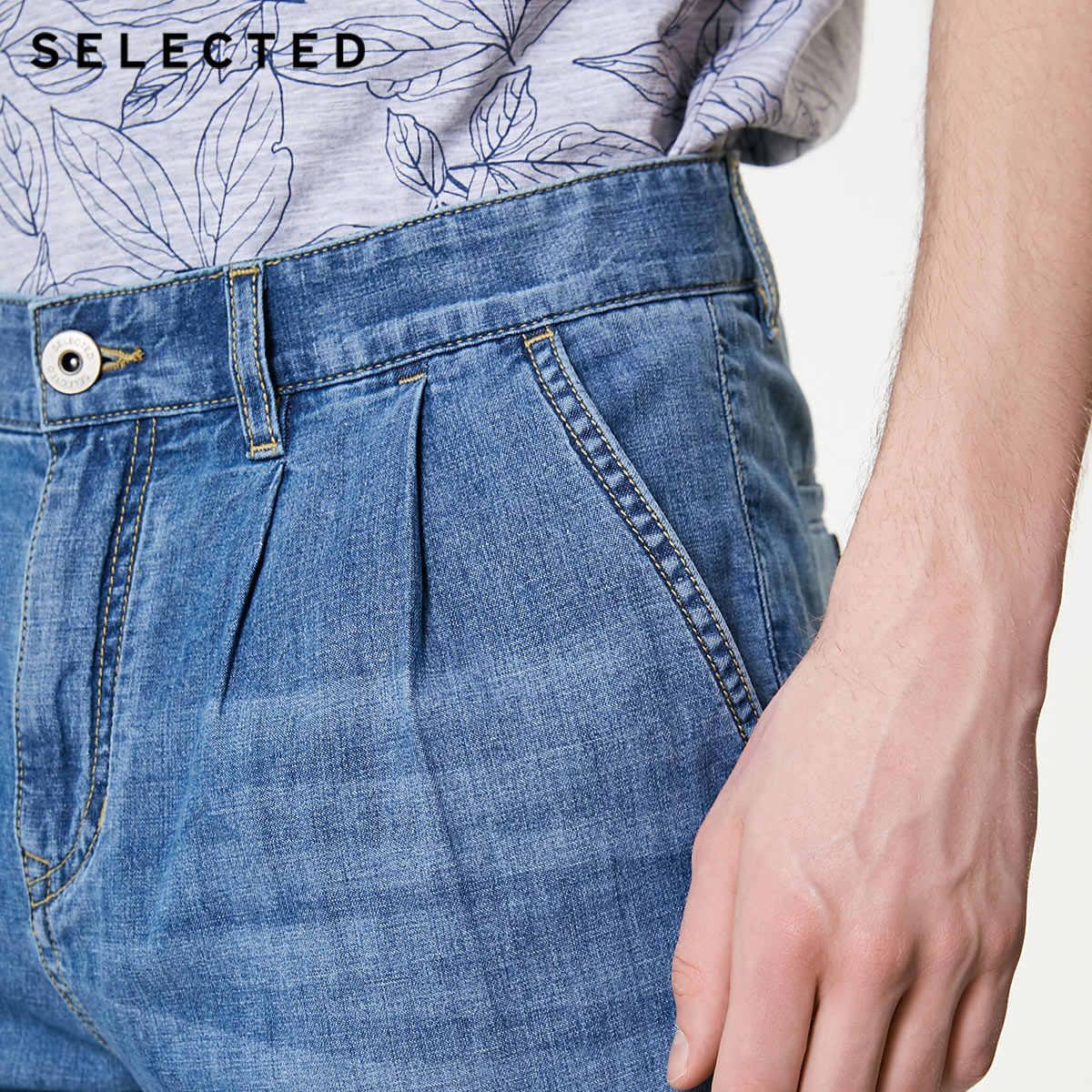 SELEZIONATO degli uomini di Estate Loose Fit Denim Pantaloni di Cotone e Lino Blended Crop Jeans C   419232513
