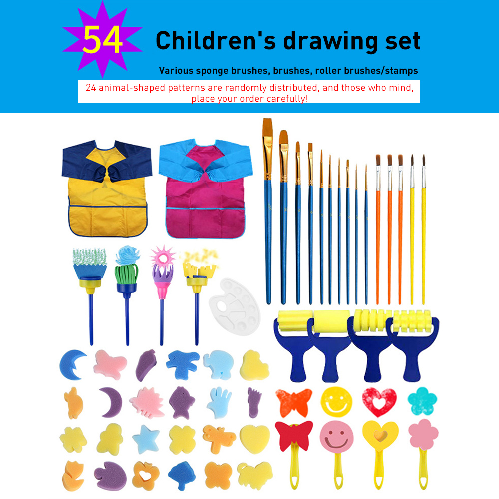 54Pcs Sponge Painting Kit DIY Painting Foam Sponge Brushes Tool Kits With Waterproof Apron for Kids Early Art Learning Drawing