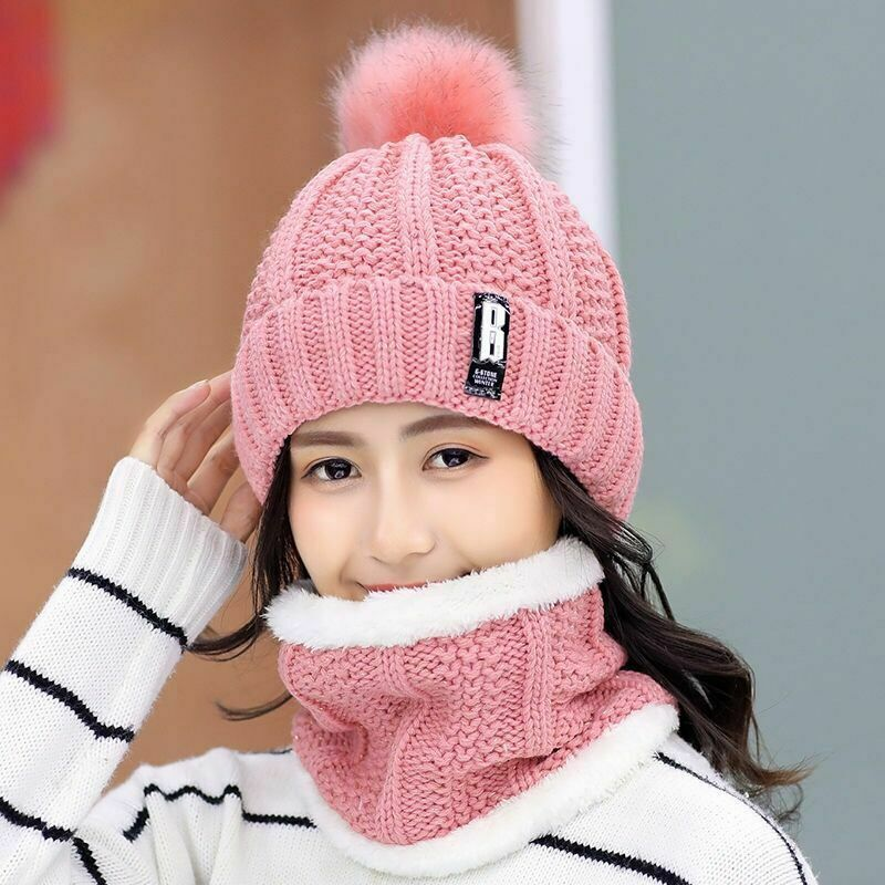 Fashion Winter Women's Hat Scarf Set Of Hat And Scarf For Women Girl Warm Beanies Hat For Girl Ring Scarf Pompoms Knitted Hats