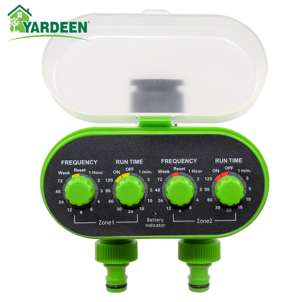 Automatic Ball Valve Tap Water Timer Two Outlet Electronic Battery Operated Garden Water-proof Irrigation Controller Green