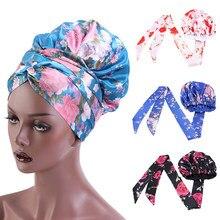 Moda feminina sleeping bonnet boné cetim sono chapéus cuidados com o cabelo envoltório feminino colorido floral elástico banda de seda noite chapéu