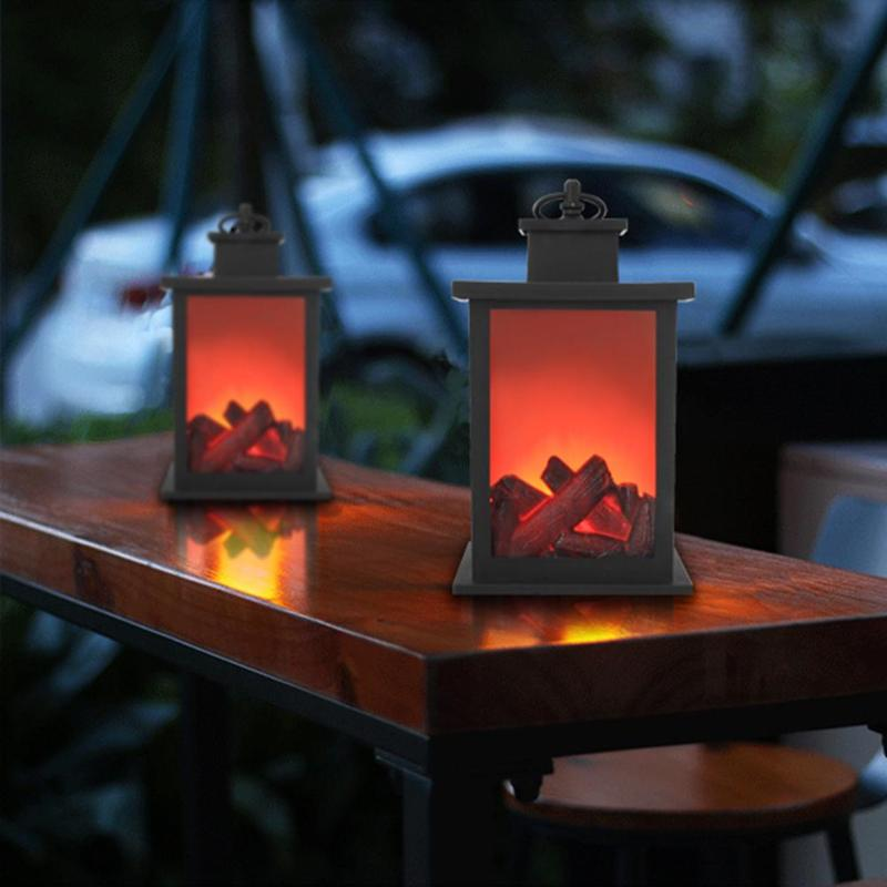 LED Charcoal Flame Effect Lamp AA Battery Originality Ornament For Home Vintage Decor Halloween Christmas Gift 24.5X14cm