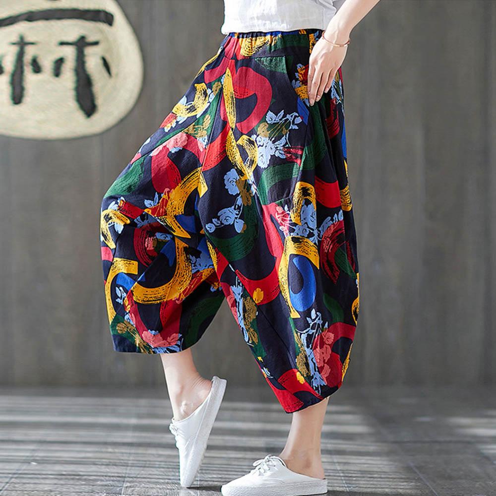 Women Boho Harem Pants Oversized Cropped Pants Cotton Linen Ethnic Print Drop Crotch Sarouel Femme Ladies Hippie Wide Leg Pants
