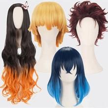 Nezuko Tanjirou Kamado Cosplay Costume Wigs Demon Slayer Kimetsu no Yaiba Cosplay Wigs Zenitsu Agatsuma Golden Short Hair