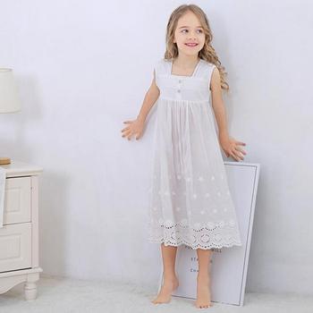 Toddle Girl White Nightdress Princess Dress Children Pajamas Nightgowns For Girls Kids Night Dress Girl Lace Sleeping Dress 1