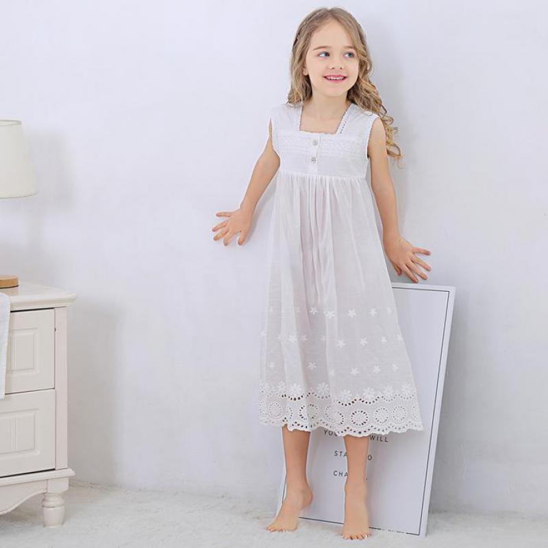 Toddle Girl White Nightdress Princess Dress Children Pajamas Nightgowns For Girls Kids Night Dress Girl Lace Sleeping Dress