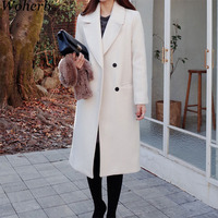Woherb Autumn Winter Long Coat Women Elegant Double Breasted Jacket Korean Loose Outwear Ladies Casual White Coats Femme 20610