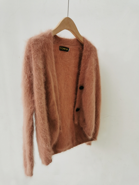 100% Real Mink Cashmere Sweaters Women New Basic Button Customize Big Size Factory Natural Mink Cashmere Cardigans tsr879 2