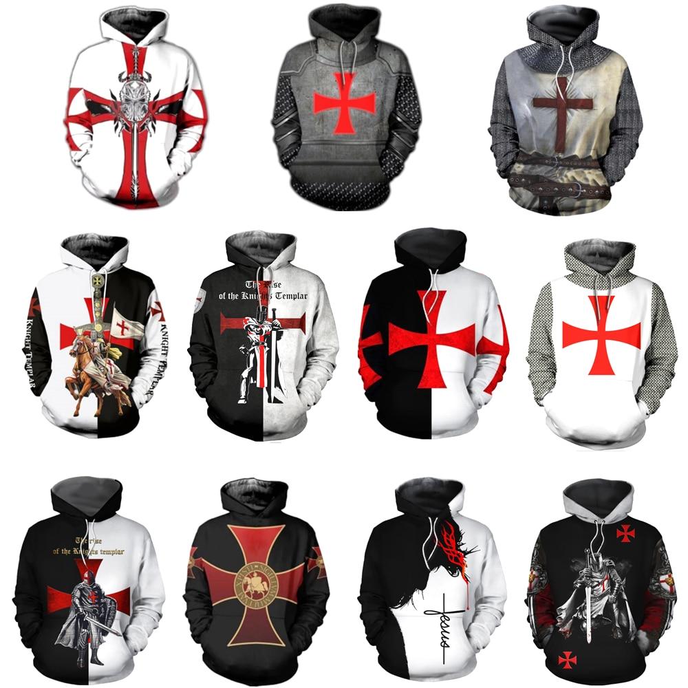 Knight Templar Cavalier Hoodie Sweatshirt 3D Printed Men Women Casual Hooded Sweatshirts Pullover HIP HOP Harajuku Streetwear