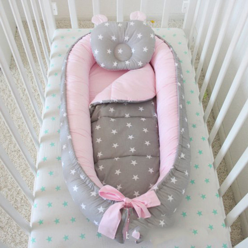 Pink Gray Baby Warm Silky And Cool Mattress Portable Infant Bed Cotton Removable And Washable Anti-fall Children's Mat Gifts