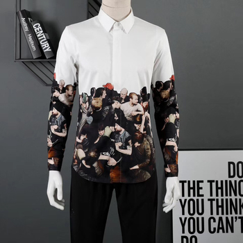 DUYOU Mens Cotton Shirt Men Dress Shirt Men 3D religious art print High Quality Slim Fit Casual Shirts DY2327