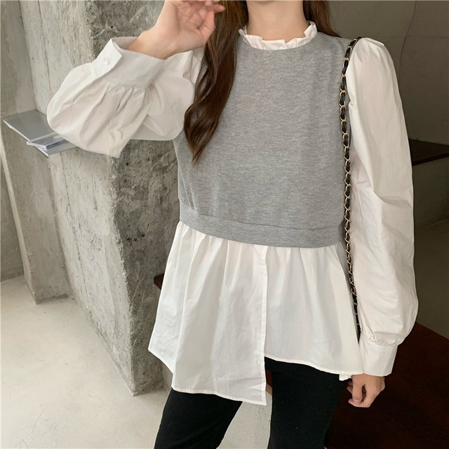 Spring Patchwork Fake Two Piece Shirts Women Autumn Irregular Puff Sleeve Causal Tops Vintage Sexy Stand Collar Blouse Femme 4