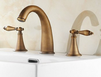 Antique Brass Widespread Deck-Mounted Tub 3 Holes Dual Levers Handles Kitchen Bathroom Tub Sink Basin Faucet Mixer Tap  mnf198