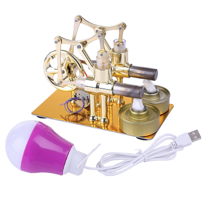 Stirling Engine Metal Double Cylinder Bulb External Combustion Heat Power Engine Model Physics Science Experiment Toy