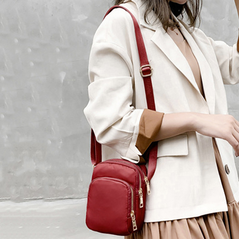 Women Fashion Solid Color Zipper Waterproof Nylon Shoulder Bag Female Crossbody Bag Ladies Waterproof Travel Messenger Bag