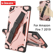 For Fire7 2019 Armor case 7.0 inch Tablet hand held strap Silicone TPU+PC Shockproof Stand Cover case for Amazon Kindle Fire 7 2019 hot sale soft silicone rubber gel case cover for 7 inch for android tablet pc xxm