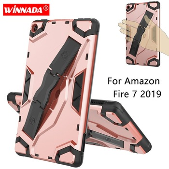 For Fire7 2019 Armor case 7.0 inch Tablet hand held strap TPU+PC Shockproof Stand Cover case for Amazon Kindle Fire 7 2019 tablet case 7 inch universal tablet pc protective shell for children shockproof cover eva handle stand for amazon kindle fire