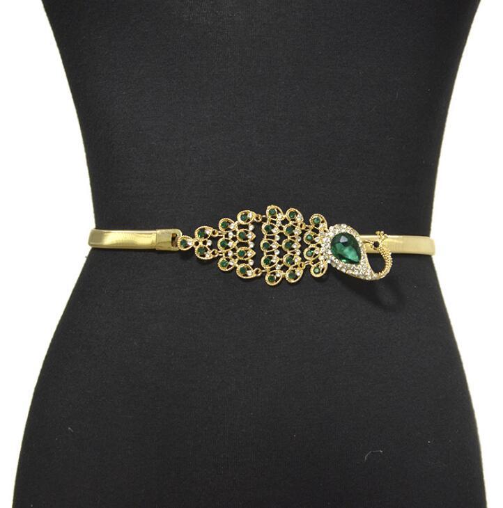 Women's Runway Fashion Diamonds Peacock Metal Cummerbunds Female Dress Corsets Waistband Belts Decoration Wide Belt R2532