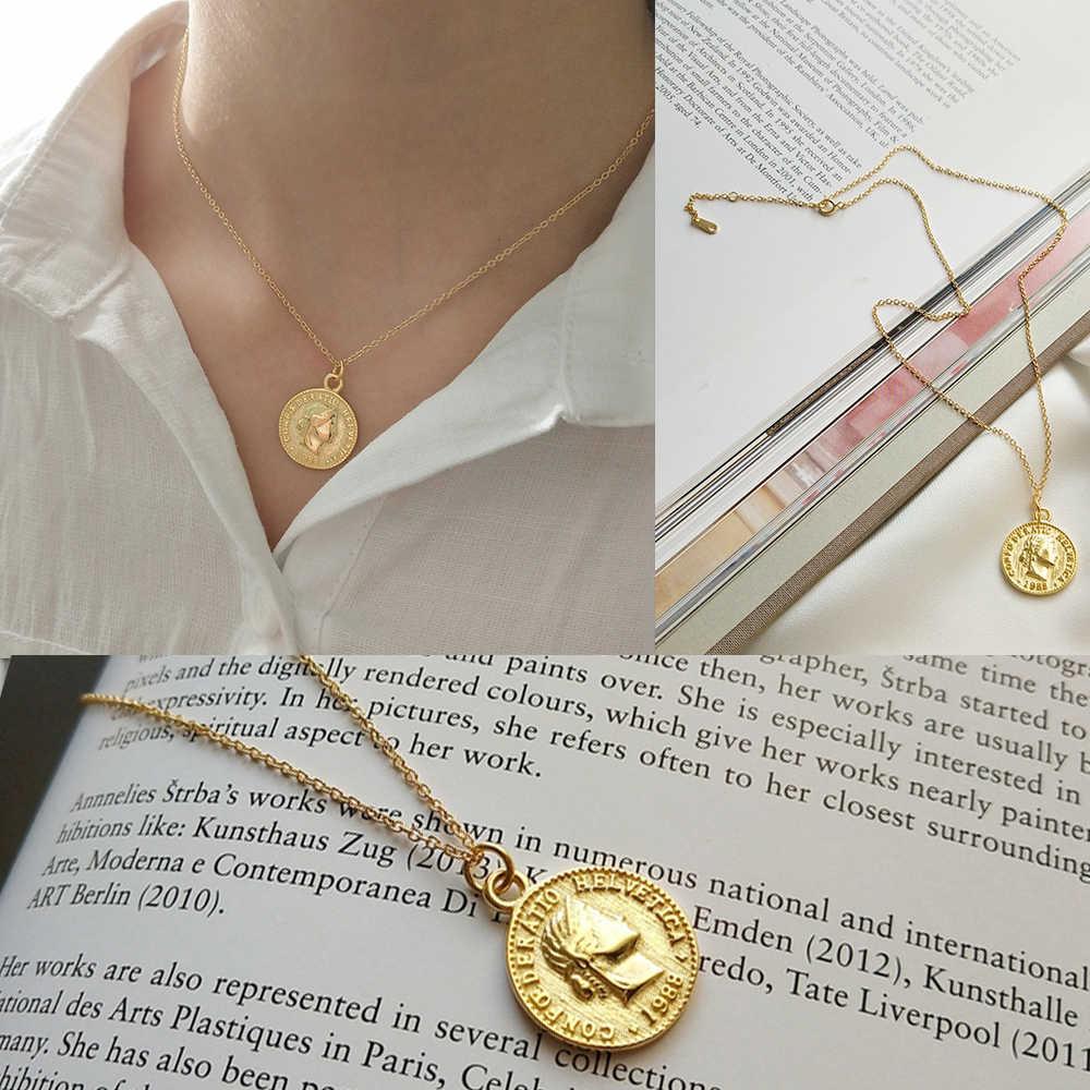 Portret złoty medalion okrągły wisiorek w kształcie monety Choker naszyjnik duży dysk naszyjnik S925 srebrny spersonalizowany naszyjnik biżuteria boho