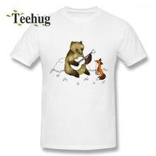 Bear & Fox Tee Men Leisure Design For Man Cute Cartoon Print T Shirt Round Collar Camiseta