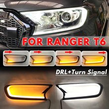 2 pçs dinâmico drl turn signal head light led capa guarnição da lâmpada abs para ford ranger t6 wildtrak 2015 2016 2017 2018