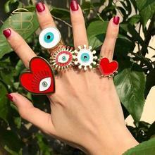 Новинка 2020, модные регулируемые богемные золотые геометрические кольца в форме сердца, эмалированные красные и белые кольца от сглаза для ж...