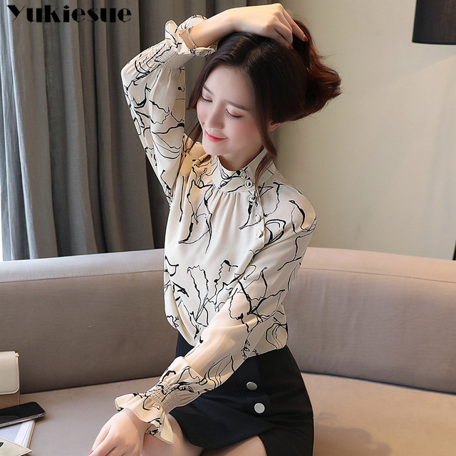 long sleeve OL office summer women's shirt blouse for women blusas womens tops and blouses chiffon shirts ladie's top plus size 3