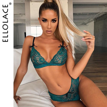 Ellolace Sexy Lace Underwear Women Set See Through Bralette and Thong Lingerie 2 Piece Set Wire Free Spaghetti Bra & Brief Sets spaghetti straps lace knickers and bra set