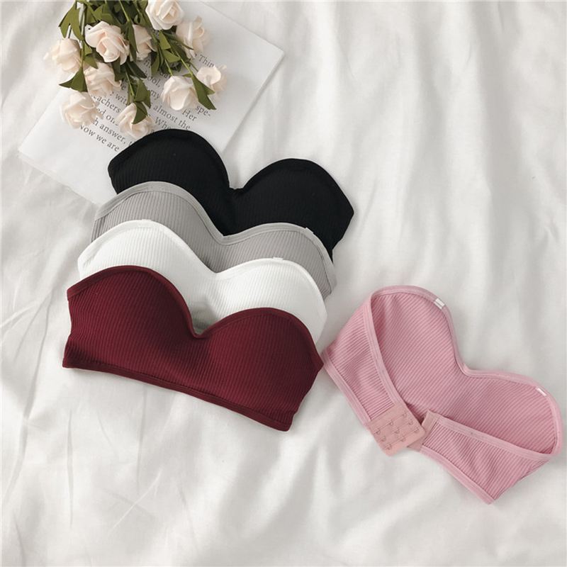 Sexy Strapless Bras For Women Wire Free Solid Color Brassiere Female Comfortable 3/4 Cup One-Piece Bra Women Sexy Lingerie