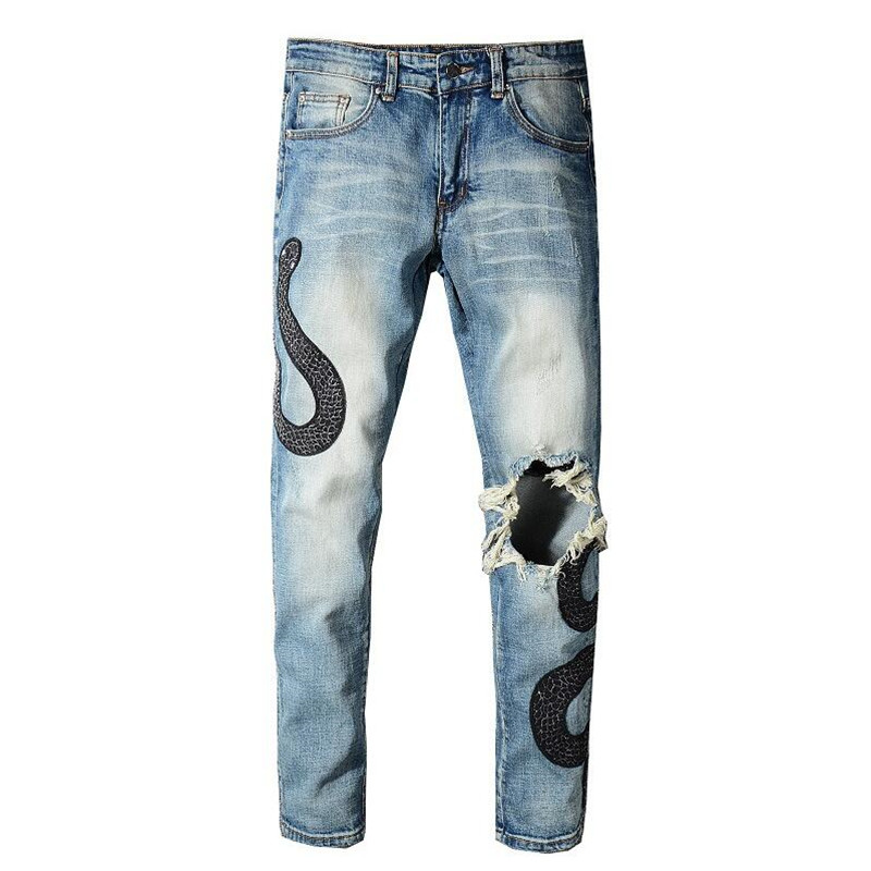 2020 New Men's Snake Embroidery Patch Design Blue Ripped Jeans Slim Skinny Light Blue Stretch Distressed Denim Pants