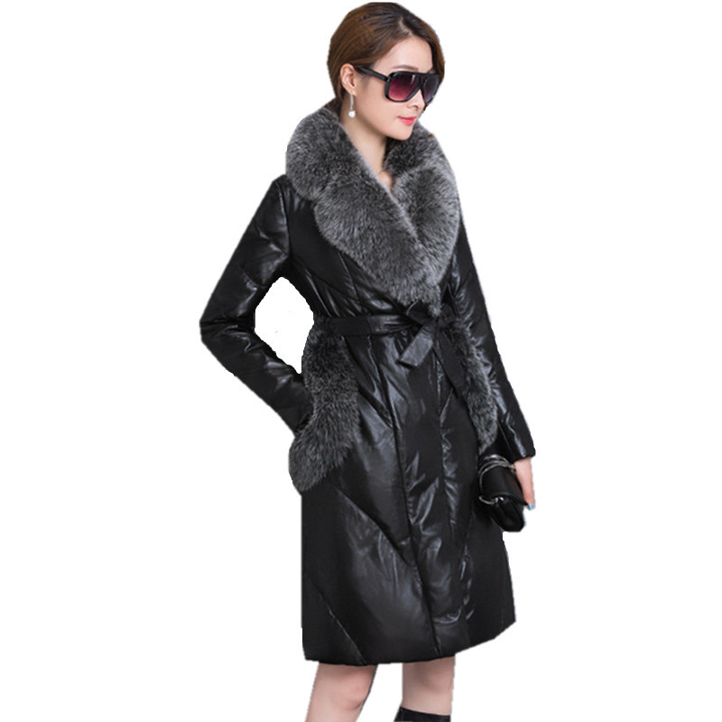 Jacket Leather Women's Winter Warm Coat Female White Goose Down Jackets Faux Fox Fur Collar Coats Parkas Mujer WXF235 S S
