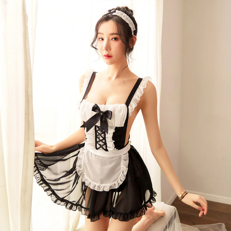 Sexy Maid Uniform Erotic Play Sexy Mesh Transparent Apron Maid Dress Backless Sexy Lingerie Cosplay Seductive Naughty Lingerie